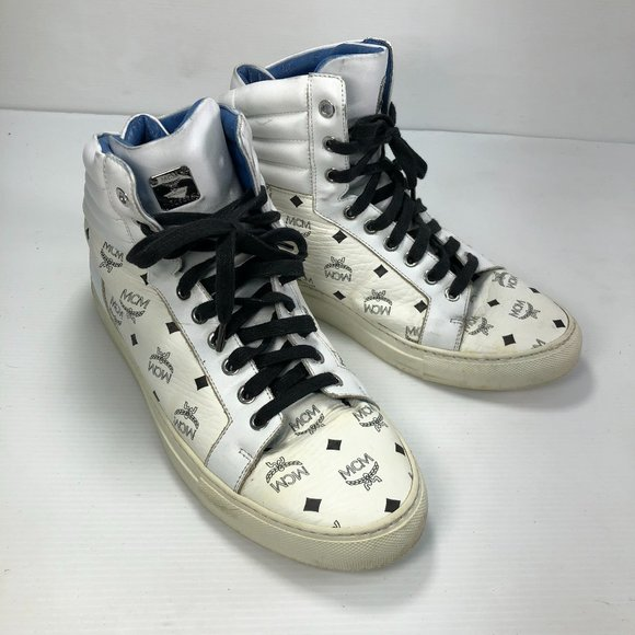 MCM Black White Leather Laced High Top Sneakers